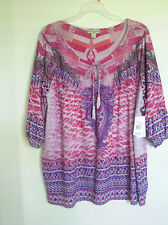 WOMEN'S ONE WORLD PINK THEORY SILVER   3/4 SLEEVE  TOP SHIRTS SZ 1X 2X