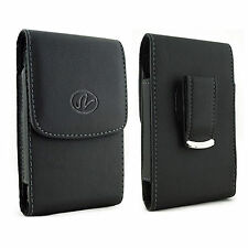 VERTICAL LEATHER CASE FITS WITH EXTENDED BATTERY for Sony Cell Phones NEW