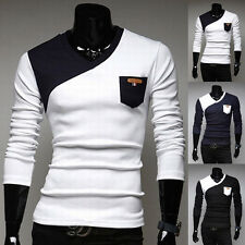 FASHION Men's Causal Long Sleeve Muscle T-Shirt Slim Fit V-neck Shirts Tee Tops