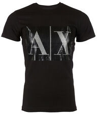 ARMANI EXCHANGE AX Mens T-Shirt BOX LOGO Slim Fit BLACK Casual Designer M-XL $48