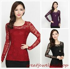 New Elegant Women Floral Stretch Lace Blouse Top Delicate Long Sleeve Tee Shirts