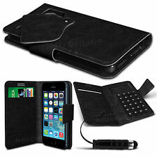 Black Thin Faux Leather Suction Pad Wallet Case Cover Skin For Various Mobiles