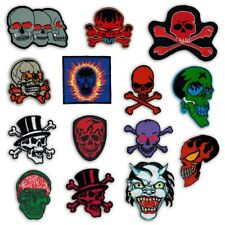 embroidered PATCH SKULL BONES biker rocker heavy metal punk devil demon gothic