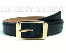 GUCCI dark navy blue GUCCISSIMA leather Gold buckle Mens dress Belt NWT Authentc
