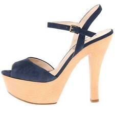 "$295 Michael Kors ""Iden"" Suede Platform Sandals, Women's Shoes, Navy 8, 9, 10US"
