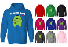 Womens Monster Love Cute Character Pullover Hoodie NEW UK 12-20