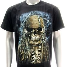 sc49 Sz L Survivor Chang T-shirt Tattoo Glow in Dark Pirate Skull Cotton Black