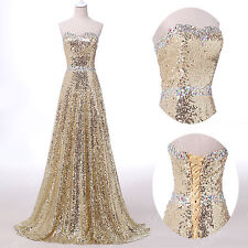 New Long ❤Luxury Sequins❤Golden Evening /Formal/Party/Cocktail/Prom Gown Dresses