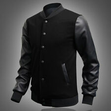 STYLISH Men's Slim Winter PU Leather Sleeve Sweatshirt Varsity Coats Jackets Top