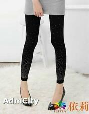 Silver Dots Glitter Gradients Spandex Footless Pants Leggings Black One Size