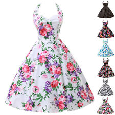 LA FAST CHEAP❤ Vintage 50's Halter Dress Rockabilly Swing Pinup Retro Prom Party