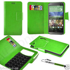 Green Leather Suction Wallet Flip Mobile Phone Case Cover For Various HTC Models