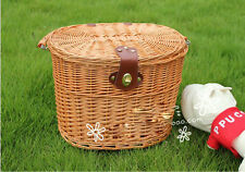 Cute Classic Style Cycling Bicycle Bike Willow Wicker Manual Basket FM