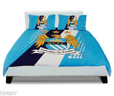 MANCHESTER CITY DOUBLE BED DUVET QUILT COVER STRIPE CREST SET MAN MCFC FOOTBALL