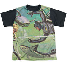Batman Classic Live-Action TVSeries Shark Fight Drawing Youth Black Back T-Shirt