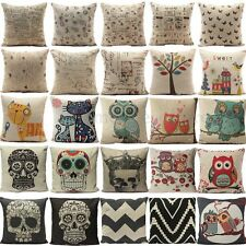 Linen Skull Strip Owl European Retro Pillow Case Vintage Home Sofa Cushion Cover