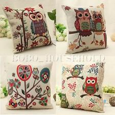 18'' Cotton Linen Owl Pillow Case Home Room Decor Back Throw Sofa Cushion Cover