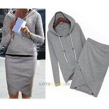 2pcs Womens Casual Hoodies Suit Sport Sweatshirt Pullover Tracksuits Sportswear