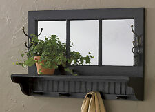 Southport Mirror Shelf with Hooks by Park Designs, 24x16, Shabby Black Finish