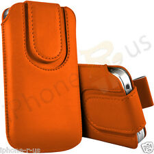 Orange Magnetic PU Leather Pull Tab Flip Case Cover For Various Nokia Phones