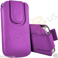 Light Purple Magnetic PU Leather Pull Tab Flip Case For Various Nokia Phones