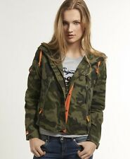 New Womens Superdry Service Snorkel Jacket Green Ops Camo
