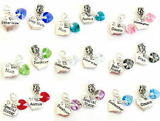 Personalised SWAROVSKI Elements AB Heart CLIP On or BAIL Charm Bead for Bracelet