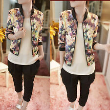 1PC Women Stand Collar Long Sleeve Zipper Floral Printed Bomber Jacket Reliable