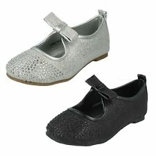 Girls Spot On Sequined Sparkly Silver or Black Slip on Flat Shoes - H2306S