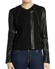 Vince Jersey Paneled Leather Jacket Asymmetrical Zip Closure Black Pick Size NEW