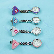 Hanging Pocket Watch Triangle Nurse Clip Fob Brooch Pendant Fobwatch Red Cross