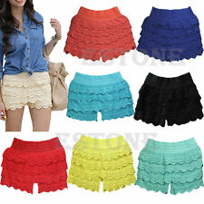 HOT! Fashion Sexy Mini Lace Tiered Short Skirt Under Safety Pants Shorts Pants