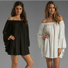 Fashion Women Boho Chiffon off Shoulder Ruffle Sleeve Sexy Beach Mini Dress