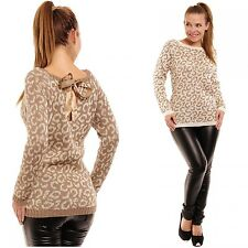 Glamour Empire Women's Gold Thread Knit Animal Print Sweater Jumper W/ Bow 273
