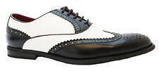 Giovanni 2541-20 Men's Black & White Two Tone Leather Wingtip Brogues New