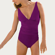 V-Neck One Piece Beach Swimsuit Swimwear Bather with Optional Skirt Orchid
