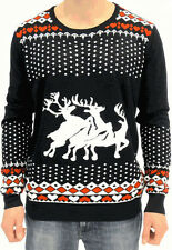 Adult B Jumper Ugly Christmas Sweater Holiday 3 Humping Reindeer Hearts Diamonds