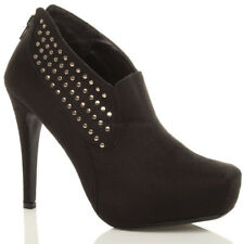 WOMENS LADIES HIGH HEEL PLATFORM STUDDED SQUARE TOE ANKLE SHOE BOOT BOOTIES SIZE