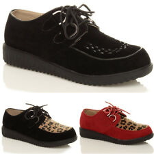 WOMENS LADIES FLAT BROTHEL PLATFORM WEDGE LACE UP CREEPERS SHOES BOOTS SIZE
