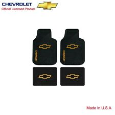 Brand New Gold Chevy Logo Front Rear Back All Weather Rubber Floor Mats