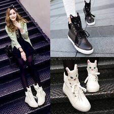 Womens Ladies Cute Pussy Cat Face Lace Up Ankle Boots Shoes Black/White XZ-113