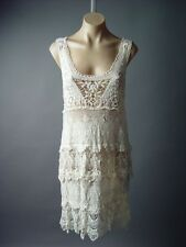 Ivory Vtg-y 20s Victorian Boho Tiered Crochet Doily Lace Layer Tea 92 mv Dress