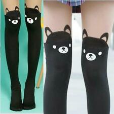 Spandex Sheer Semi-Opaque Cute Bear Faux Stockings Pantyhose Tights Slim Punk