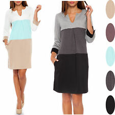 Glamour Empire Women's ¾ Sleeve Colour Block Shift Dress With Pockets 303