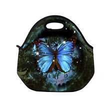 Blue Butterfly Insulated Tote Lunch Bag Cool Bag Cooler Lunch Bag Tote Washable