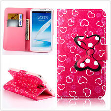 pink Dots bowknot Heart Rose Love Wallet card slot Leather Case Cover for phones