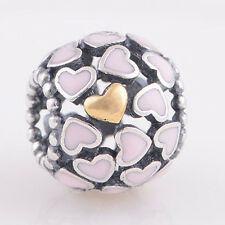 Sterling Silver 925 European Charm Abundance of Love Pink Hearts Bead 88524