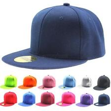 Boys/Girls Solid Hip-Hop Baseball Cap Snapback Flat Peak Hat Visor Cap 19 Colors