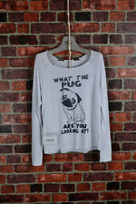 NEW What The Pug Are You Looking At dog jersey top ivory white l/s in cute S/M/L