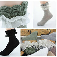 Vintage Lace Ruffle Frilly Ankle Short Socks Ladies Princess Girl Stockings Gift